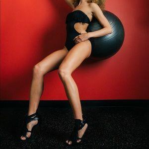 L Space one-piece strapless black bikini w/ fringe